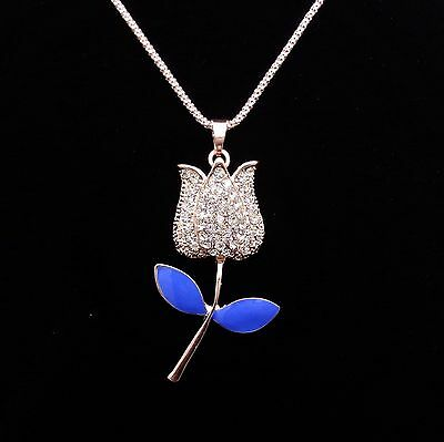 HOT Fashion Blue rose pendant sweater chain mosaic crystal necklace BBB100