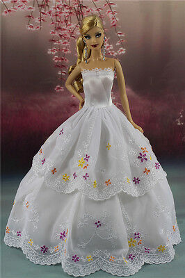 White Fashion Party Dress/Wedding Clothes/Gown For Barbie Doll S191P8