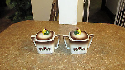 SCARCE! VINTAGE ORCHARD WARE HAND DECORATED CALIFORNIA ROOSTER Sugar & Creamer