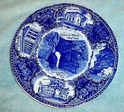 Antique Victorian FLOW BLUE ENglish Staffordshire Historic New York Scenic Plate