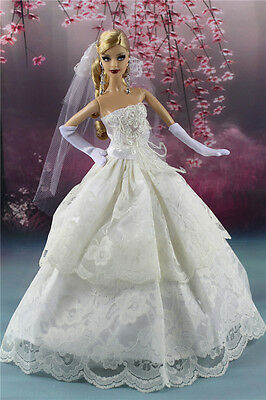 White Fashion Dress Wedding Clothes/Gown+Veil+Gloves for Barbie Doll F8P5