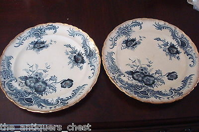 "Myott and Sons ""Seville"" pattern pair of plates gold trim 1878-1902, 10 1/2""[2]"