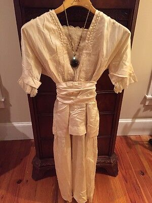 Antique Lace Silk Edwardian Titanic Victorian German Wedding Dress Gown with Box