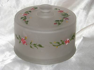 VINTAGE PAINTED FROSTED GLASS DRESSER JAR LID FLOWERS RED GREEN LEAVES 1930's NR