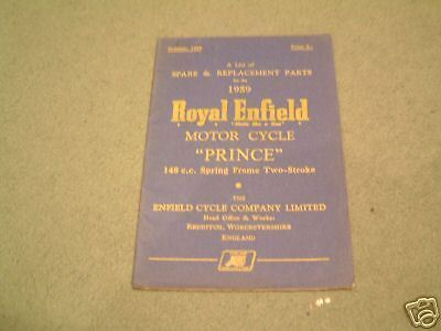 Royal Enfield 150 Prince Parts Book 1959 Original