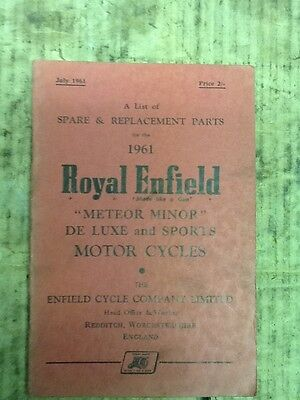 Royal Enfield Meteor Minor De Luxe 1961 Parts Book