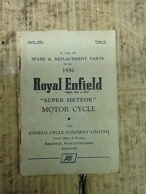Royal Enfield Super Meteor Parts Book 1956