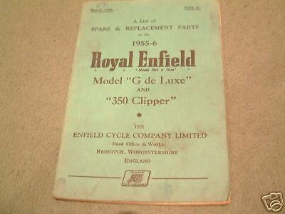 Royal Enfield Model G Parts Book 1955-56 Original