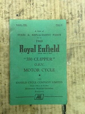 Royal Enfield 350 Clipper Parts Book 1960