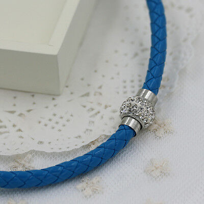 Fashion Leather Choker Magnetic Buckle Rhinestone Necklace #025-Peacock blue