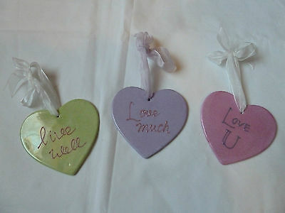 Pretty Ceramic Hearts Ribbons & Valentine's Day Sayings