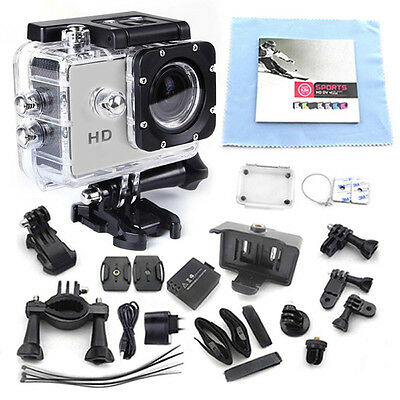 1080P HD Helmet Sports 12MP DVR Car DV Waterproof Silver Camera Camcorder Action