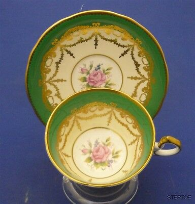 Fancy Aynsley England Bone China Tea Cup & Saucer Duo Set Green & Gold & Roses