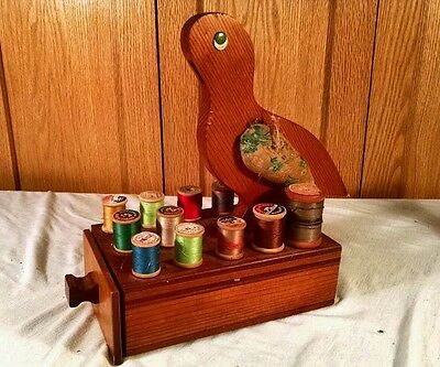 Vintage Wood Sewing Bird Box with Drawer PIN Cushion Sewing Caddy Spool Holder