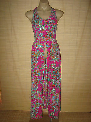 Preloved RETRO late 60's  FAB HOT PINK paisley vintage OPEN Dress sz XS (6-8)
