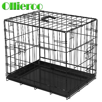 "Ollieroo 30""Black 2 Door Pet Cage Folding Dog Cat Crate Cage Kennel w/ ABS Tray"