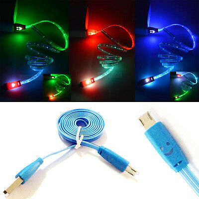 LED Light Micro USB Charger Data Sync Cable for HTC LG Samsung Galaxy S4 S3 Blue