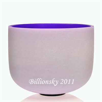 Purple Colored Frosted B Crown Chakra Quartz Crystal Singing Bowl 10""