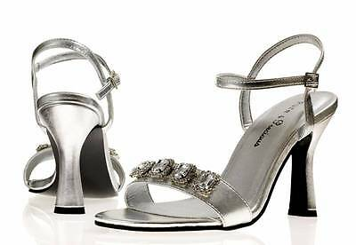 Ladies Womens Silver Evening Prom Bridal Bridesmaid Party Shoes Lexi All Sizes