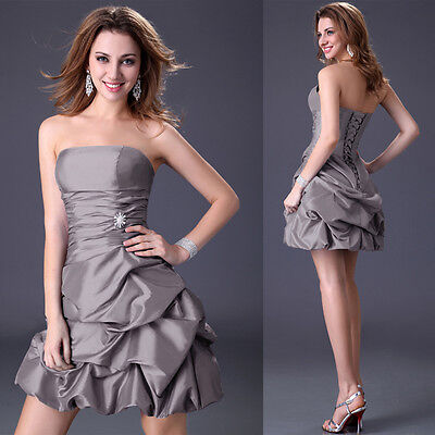 GRAY 12 Short Prom Dresses Homecoming Graduation Party Evening Wedding ball Gown