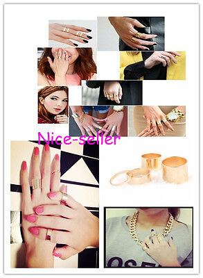 4PCS URBAN GOLD STACK PLAIN ABOVE KNUCKLE RING BAND CUTE MIDI RINGS SET NEW