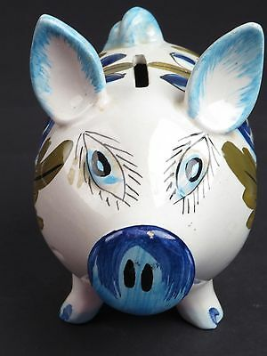 VTG Hand Painted Piggy Pig Bank Ceramic Pottery Porcelain Made in ITALY