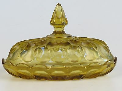 VTG Amber Pressed Glass Covered Butter Dish Plate Anchor Hocking Fairfield