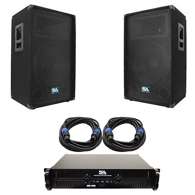 "Seismic Audio Pair of 15"" PA DJ Speakers with Amplifer & 25' Cables"