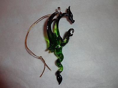 Hanging Green and Black Dragon of Blown Glass Crystal