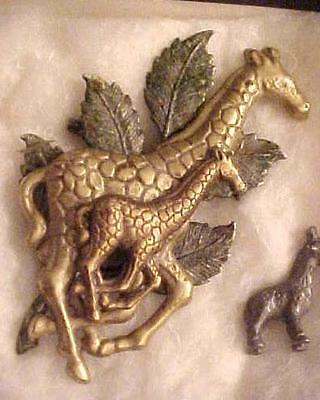 LARGE, Vintage BROOCH/Pin w/TWO Galloping GIRAFFES, Parent / CHILD, Unsigned