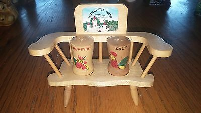 VINTAGE THE ENCHANTED FOREST BALTIMORE MD SALT & PEPPER SHAKERS BENCH ROSTER