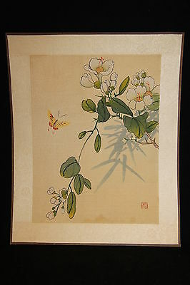 Vintage Chinese Butterfly with Flowers Silkscreen Painting on Silk