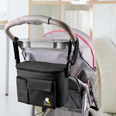 Black Baby Cart Stroller Organizer Nappy Diaper Bag Pram Buggy Bottle Holder
