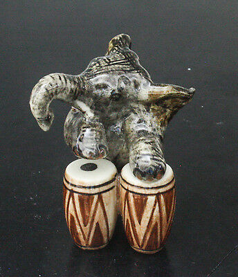 Figurine Animal Ceramic Statue Elephant Playing Drum Musical - SMC018-3