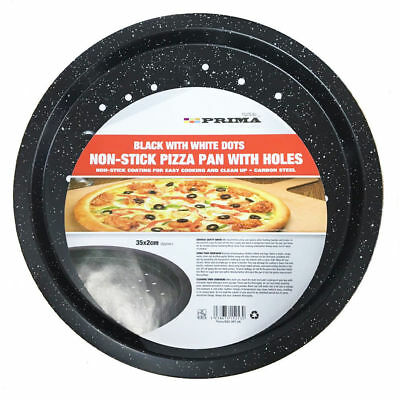 "Non-Stick Pizza Pan 12"" 35CM PRIMA Carbon Steel Baking Round Oven Vented Tray"