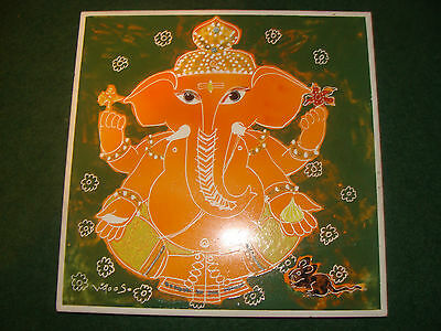VINTAGE JOHNSON HAND PAINTED ELEPHANT VIJOO SADWELKAR MADE IN INDIA WALL TILE