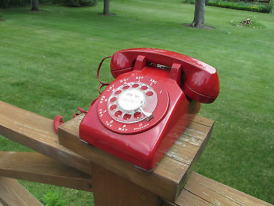 Vintage Western Electric Red Rotary Desktop Phone Bell System USA