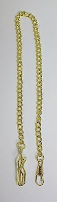 "Beautiful Vintage Gold Tone Link Pocket Watch Chain Fob Pendant 14"" c1970s"