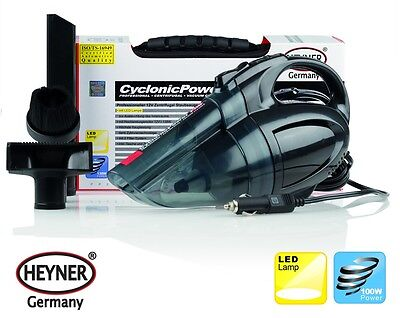 12V VACUUM CLEANER CAR HOOVER with LED LAMP HEYNER CYCLONIC 2 FILTERS EFFICIENT!