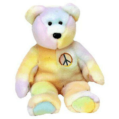 TY Beanie Buddy - PEACE the Ty-Dyed Bear (pastel version) (14 inch) - MWMT's