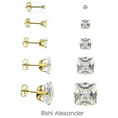 18k Gold Filled Square Cubic Zirconia Clear CZ Stud Earrings Butterfly Posts