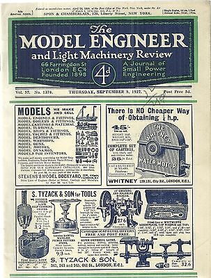 The Model Engineer and Light Machinery Review Sept. 8 1827 Engineering Journal