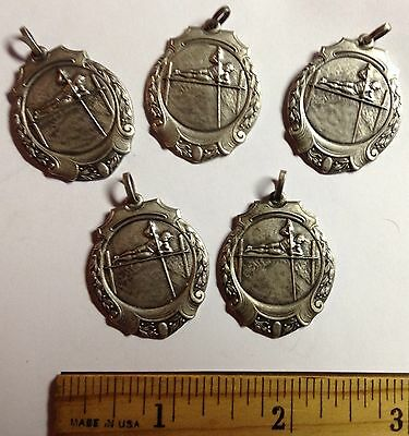 """5 POLE VAULT ART DECO ANTIQUE OLYMPIC STYLE 3-D MEDALS 1930s  SIZE 1""""by1 1/2"""" a3"""