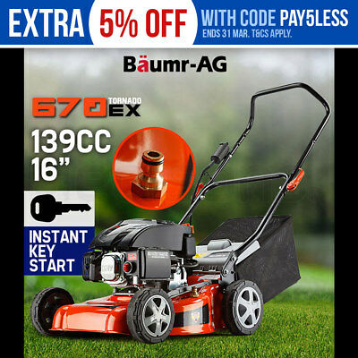 "NEW Lawn Mower Key Start Push Lawnmower 4 Stroke Engine Catch 16"" 139cc Baumr-AG"