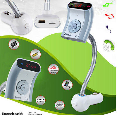 Hands-free Car Kit Bluetooth FM Transmitter MP3 Player for iPhone 6 HTC Samsung