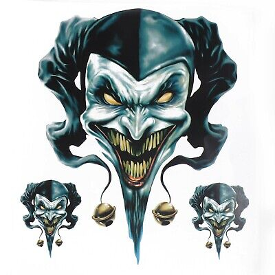 Clown Jester Graphic Sticker Decal Set For Motorcycle Motorbike Car Truck