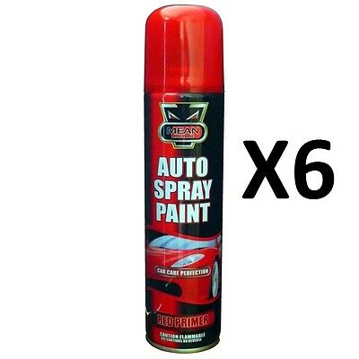 NEW 6 X Red Primer Aerosol Spray Cans 300ml Cars & Vans ETC Auto Spray Paint NEW