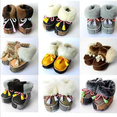 Baby GENUINE SHEEPSKIN Leather Slippers Boots, Girls, Boys, Newborn - 2 years