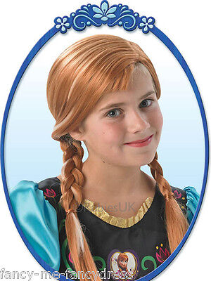 Girls Disney Anna Frozen Brown Brunette Plaited Fancy Dress Costume Outfit Wig