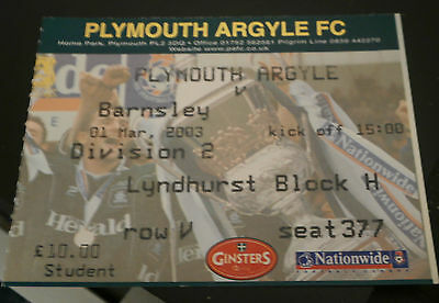 Plymouth Argyle v Barnsley 01 March 2003 League Match Ticket